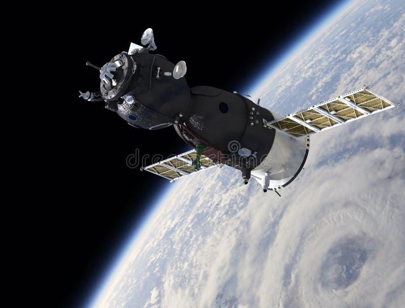 Vaisseau spatial sur l'orbite illustration de vecteur