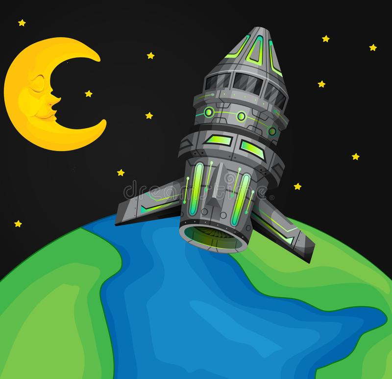Vaisseau spatial volant au-dessus du monde illustration stock