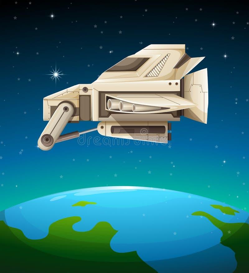 Vaisseau spatial volant au-dessus du monde illustration libre de droits
