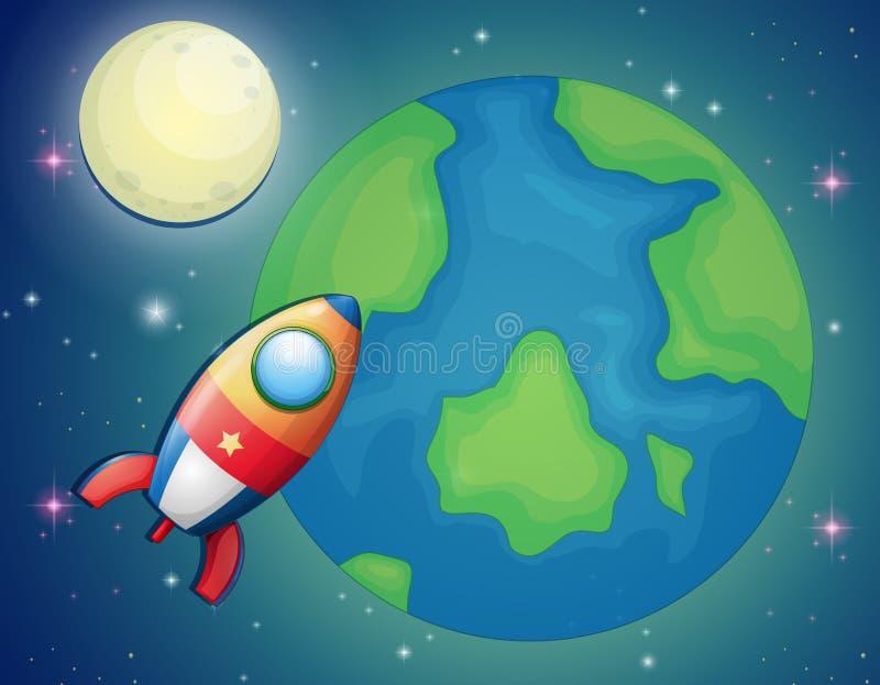 Vaisseau spatial volant au-dessus du monde illustration de vecteur