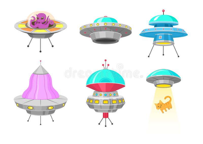 Vaisseaux spatiaux étrangers, ensemble d'objet de vol non identifié d'UFO, fusées fantastiques, vaisseaux spatiaux cosmiques dans illustration stock