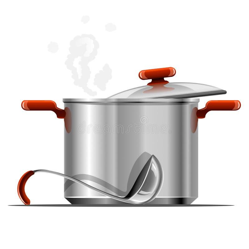 Vaisselle argentée chaude neuve de carter de vecteur d'isolement illustration de vecteur
