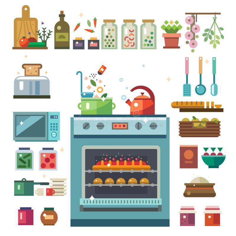 Vaisselle de cuisine à la maison illustration libre de droits
