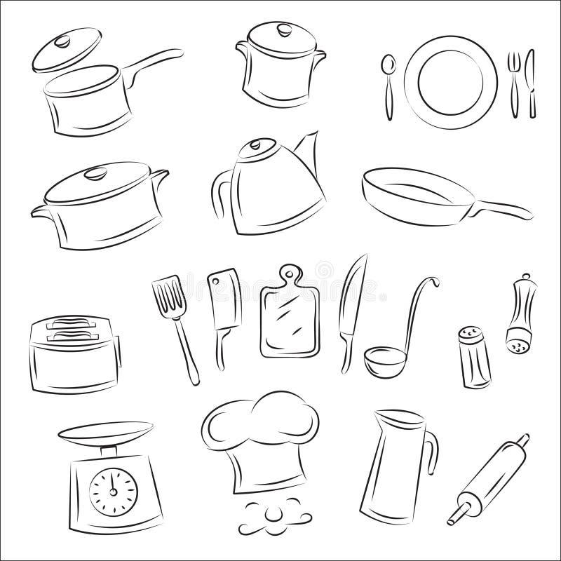 Vaisselle de cuisine illustration libre de droits