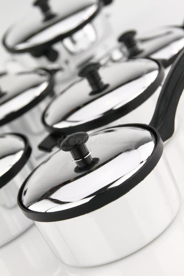 Vaisselle de cuisine d'acier inoxydable photos libres de droits