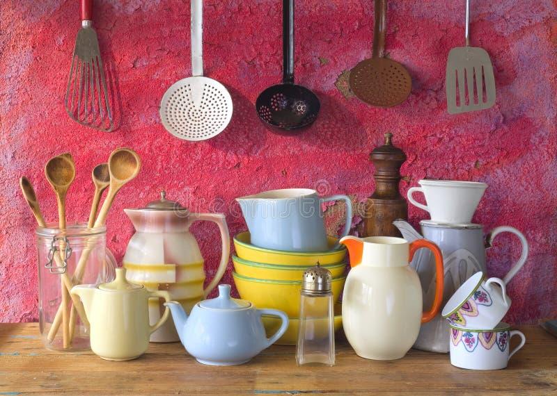 Vaisselle de cuisine de vintage photographie stock