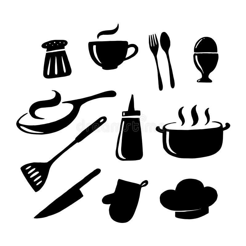 Vaisselle de cuisine graphique, vecteur illustration stock
