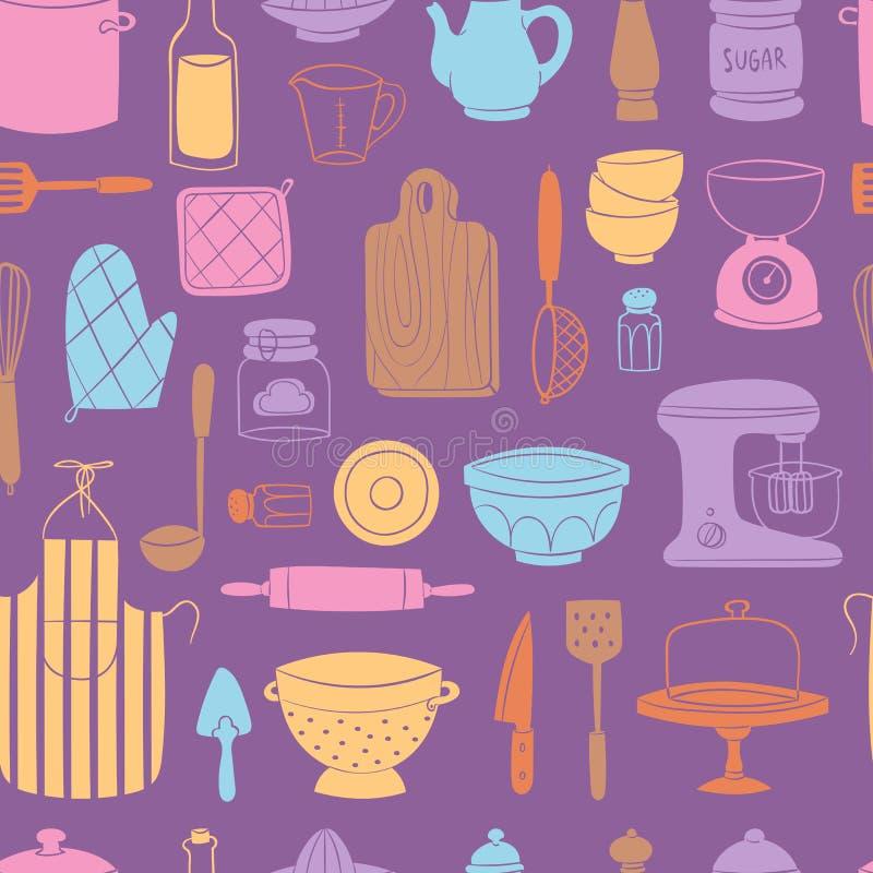 Vaisselle de cuisine de nourriture d'ustensiles de cuisine faisant cuire le fond sans couture de modèle de vaisselle d'illustrati illustration stock
