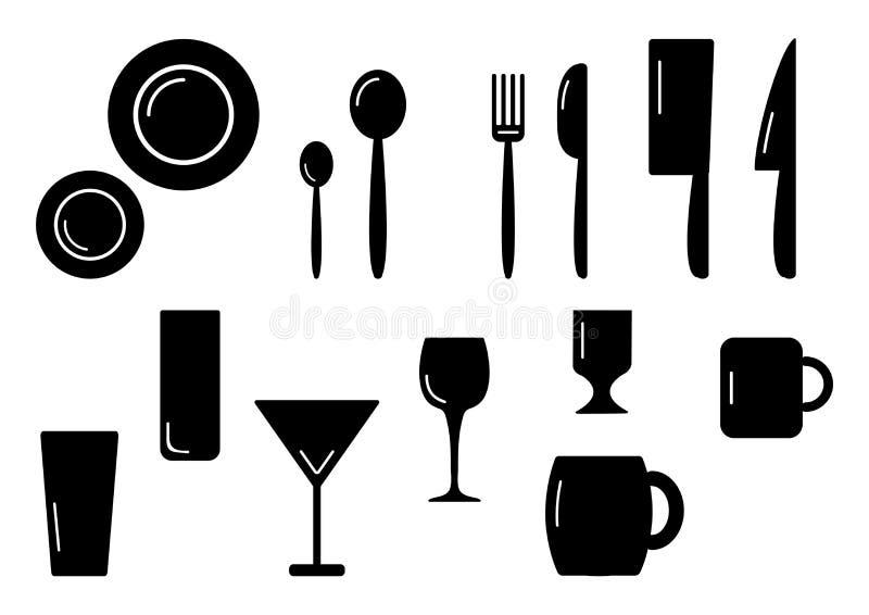 Vaisselle de cuisine réglée noire et blanche, illustration de vecteur