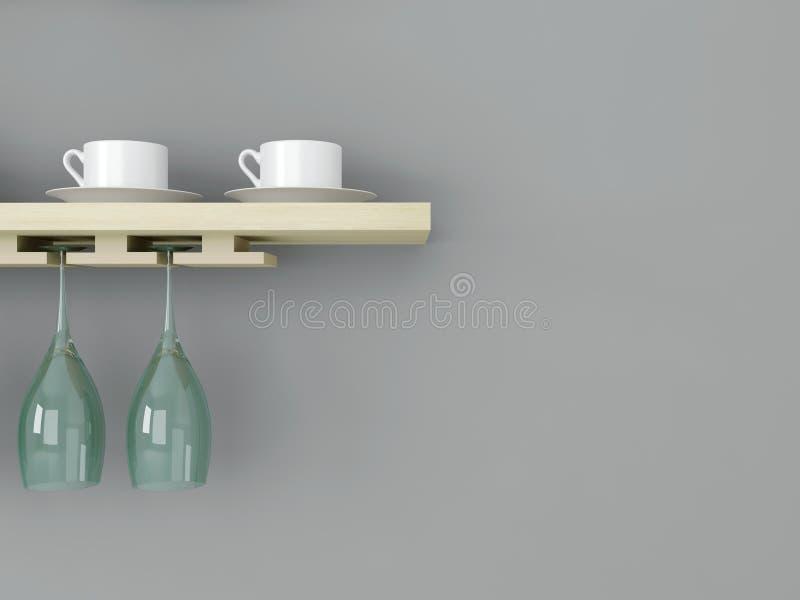 Vaisselle de cuisine sur l'étagère en bois illustration de vecteur
