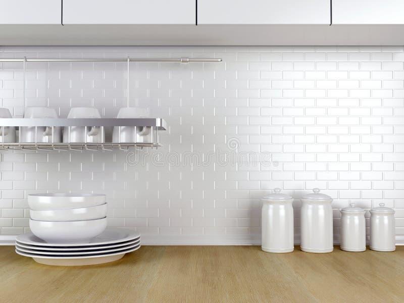 Vaisselle de cuisine sur le plan de travail illustration stock