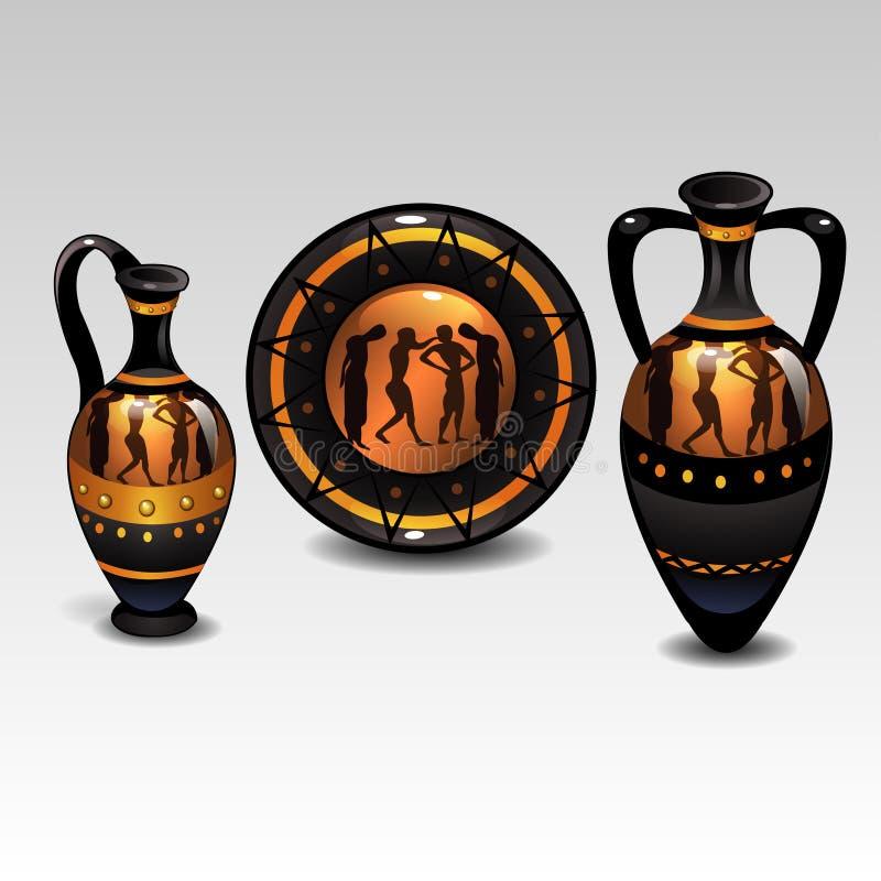 Vaisselle du grec ancien illustration libre de droits