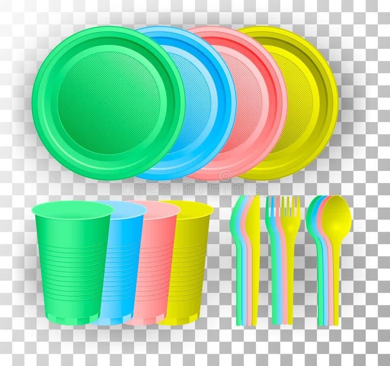 Vaisselle en plastique jetable Tasse, couteau, fourchette et cuillère en verre multicolores Illustration de vecteur illustration stock
