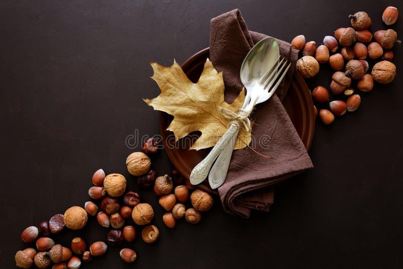 Vaisselle, noix, noisettes, châtaignes et glands sur le fond en bois foncé Concept de vacances de jour de thanksgiving photos stock