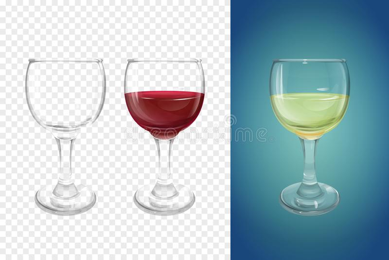 Vaisselle réaliste d'illustration de vecteur en verre de vin illustration de vecteur