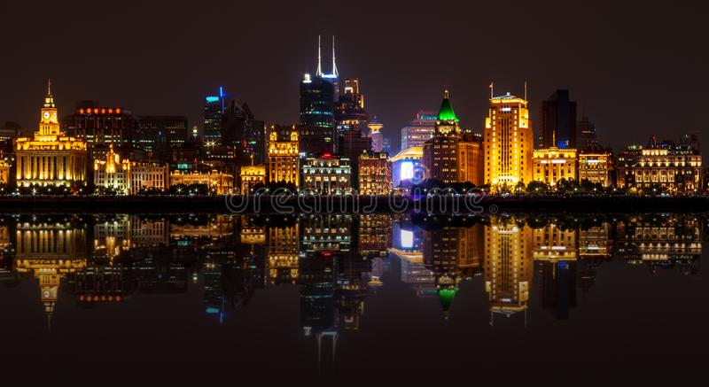 The Vaitan embankment. Panoramic view from Pudong royalty free stock photo