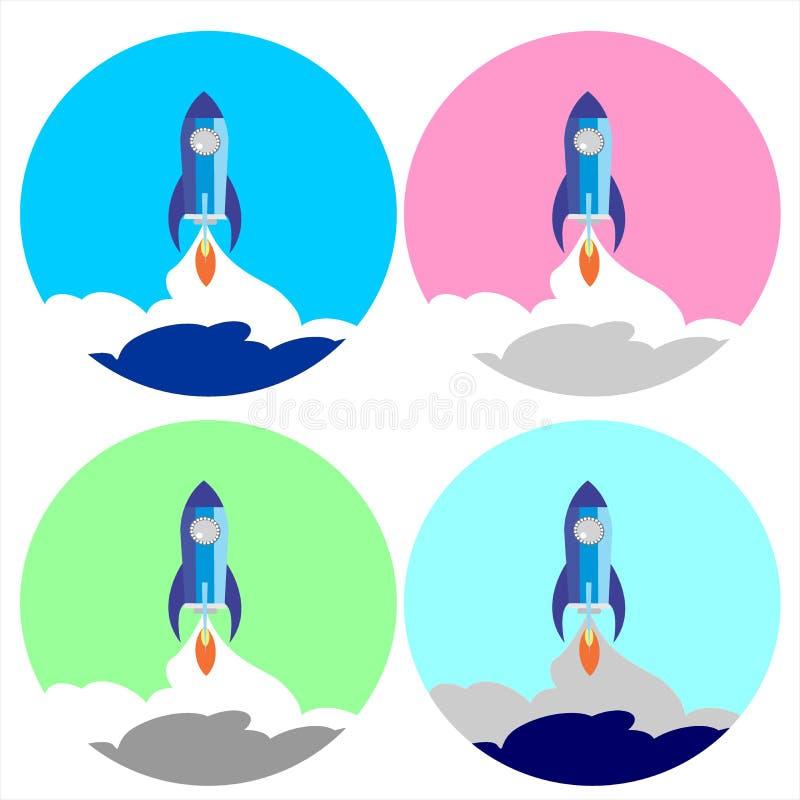 Vaivém espacial liso ajustado Rocket Circle Icon ilustração do vetor