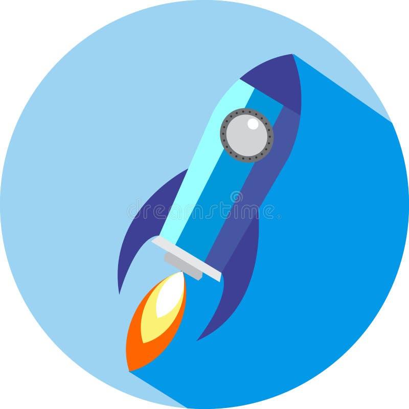 Vaivém espacial liso Rocket Circle Icon com sombra longa ilustração do vetor