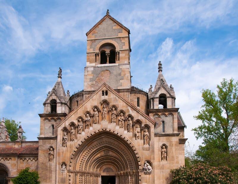 Vajdahunyad城堡的,市公园教堂布达佩斯,匈牙利 图库摄影