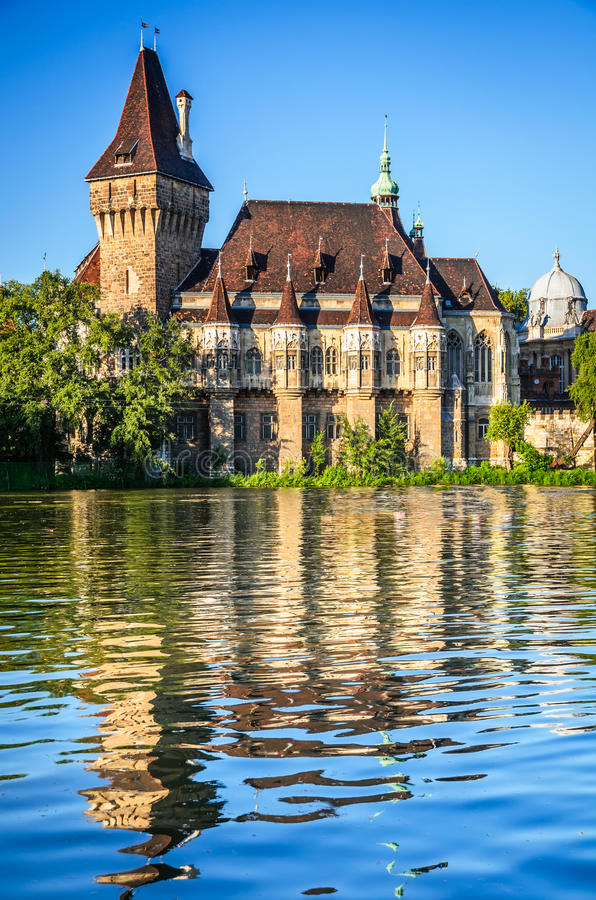 Vajdahunyad Castle in Budapest, Hungary. Budapest, Hungary. Scenery with water reflection of Vajdahunyad Castle in magyar capital stock photography