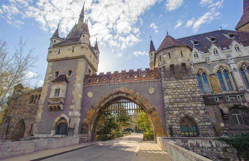 Architecture of Budapest, Hungary, Agicultural museum. Vajdahunyad Castle, castle contains parts of buildings from various time periods, it displays different stock image