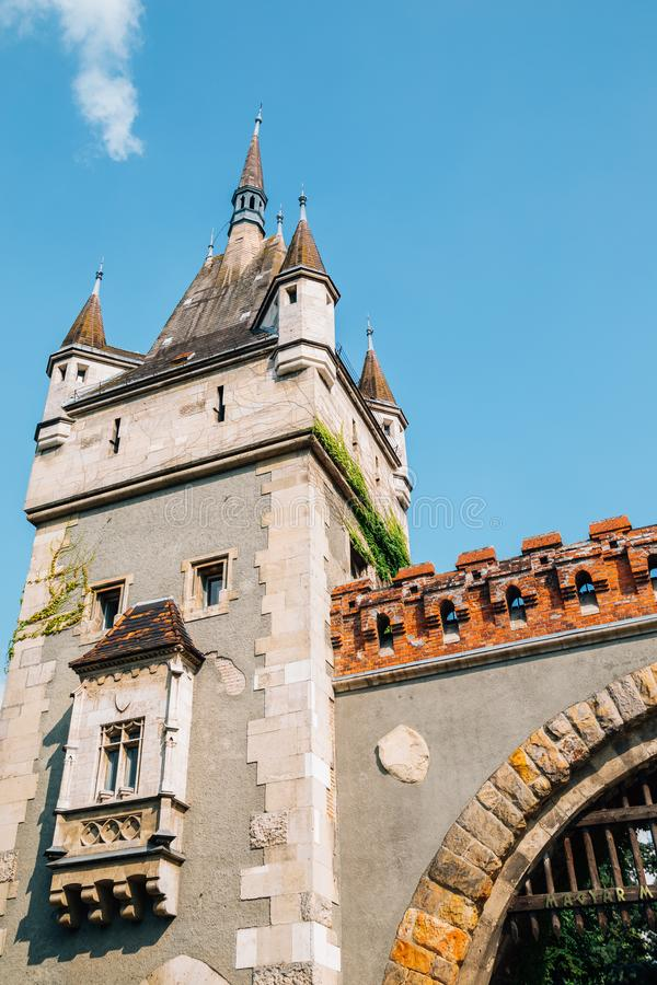 Vajdahunyad Castle at City Park in Budapest, Hungary. European old architecture stock image