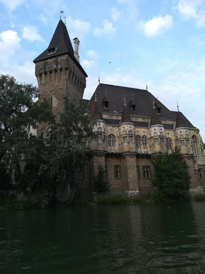 Vajdahunyad Castle. In the City Park of Budapest, Hungary. It is designed in different styles: Romanesque, Gothic, Renaissance and Baroque royalty free stock images