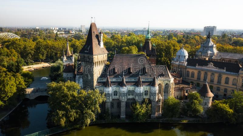Vajdahunyad castle view from lakeside. Budapest, Hungary Filmed from the drone stock photos