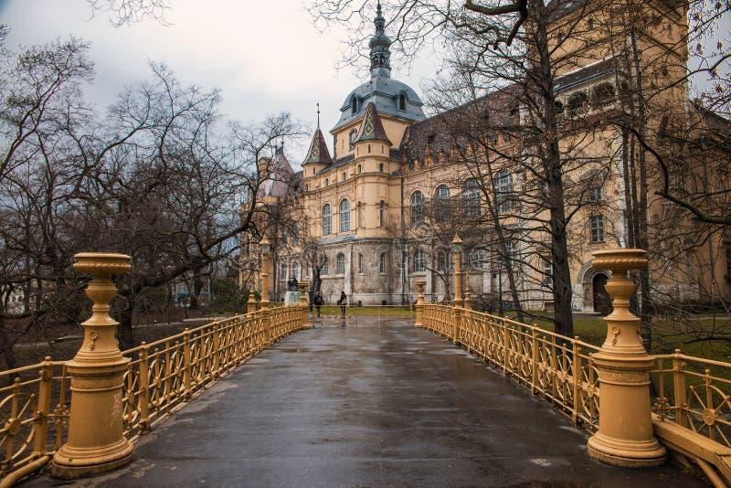 Vajdahunyadkasteel in Boedapest in de herfst stock foto