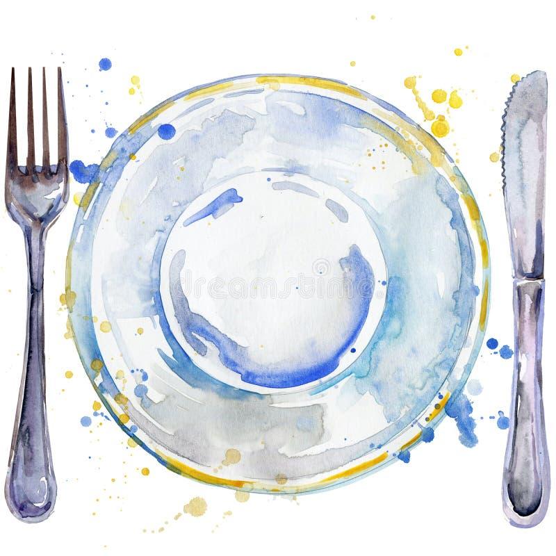 Vajilla, cubiertos, placas para la comida, bifurcación, ejemplo del fondo de la acuarela del cuchillo de tabla stock de ilustración