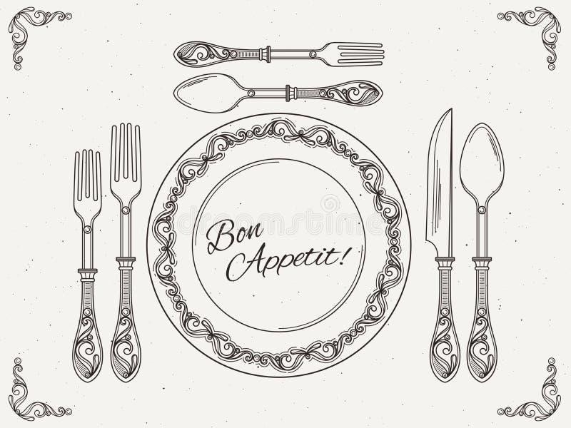 Vajilla del banquete Plato del vintage con la cuchara, la bifurcación y el cuchillo Símbolos de la consumición en el cartel retro ilustración del vector