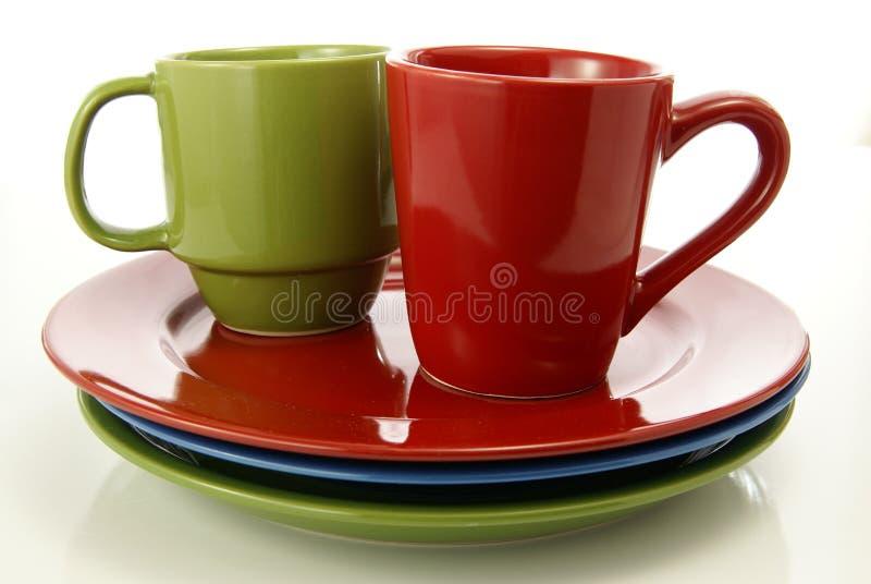 Vajilla rojo y verde fotografía de archivo libre de regalías
