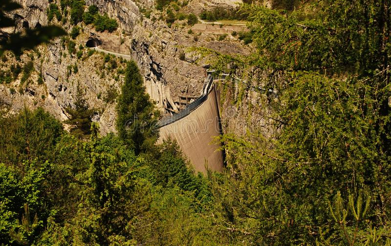 The Vajont dam, symbol of the great tragedy of 9 October 1963 royalty free stock photography
