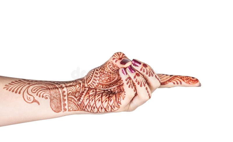 Vajra mudra with henna. Woman hand with henna doing Vajra mudra, gesture of the fiery thunderbolt isolated on white background with clipping path stock photos
