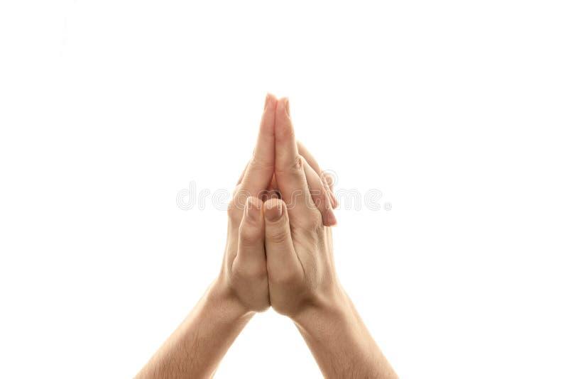 Vajrapijl Mudra, yoga voor de vingers, een ritueel gebaar in Boeddhisme Ge?soleerdj op witte achtergrond stock afbeeldingen