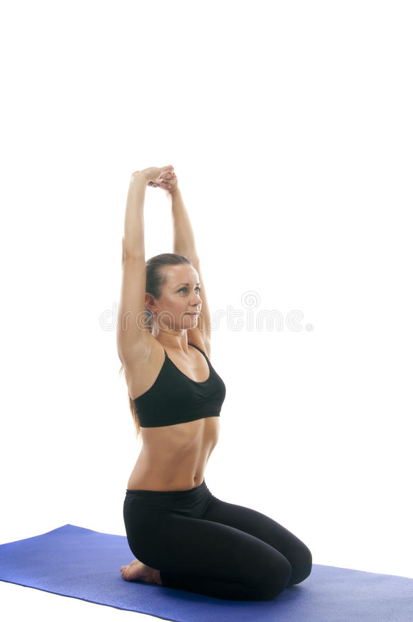 Vajrasana Pose ( Adamantine Pose). Yoga seria: Vajrasana, Adamantine Pose, Diamond Pose, Kneeling Pose, Pelvic Pose, and Thunderbolt Pose is an asana royalty free stock image