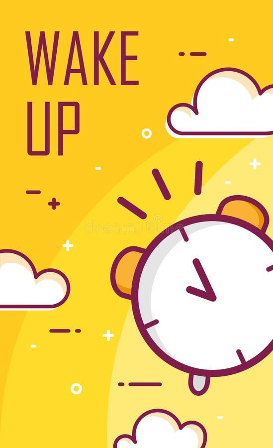 Vak upp affischen med ringklockan Tunn linje lägenhetdesign Bakgrund för bra morgon för vektor stock illustrationer