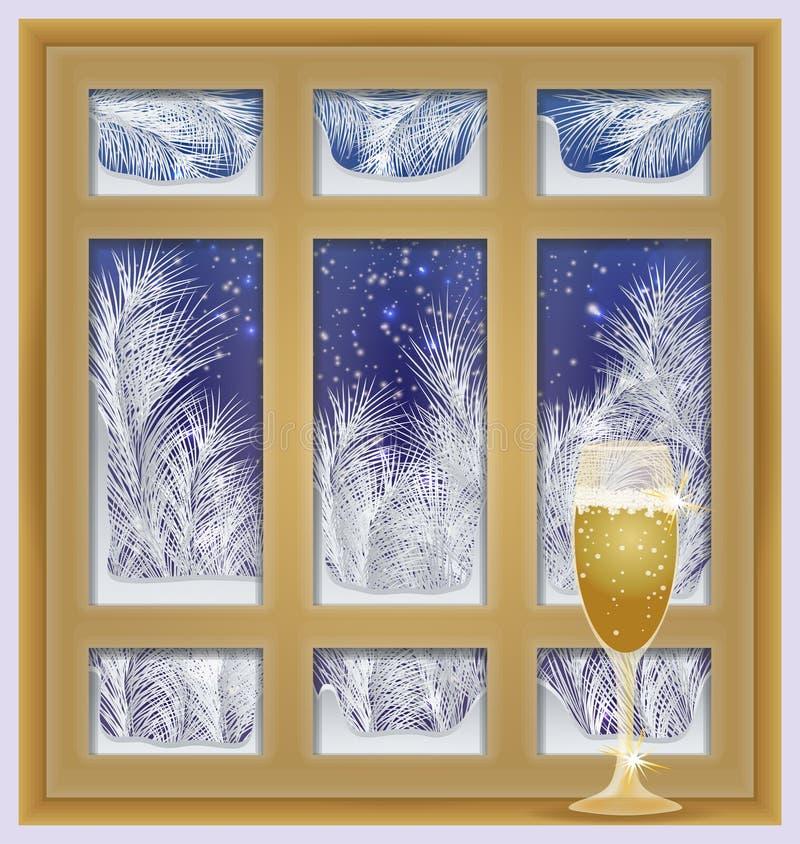 Vakantie berijpt venster met champagne stock illustratie