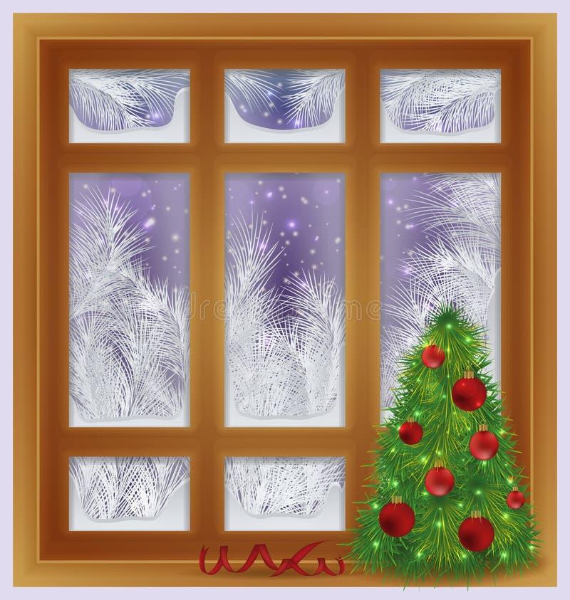 Vakantie berijpt venster met Kerstmisboom, vector stock illustratie