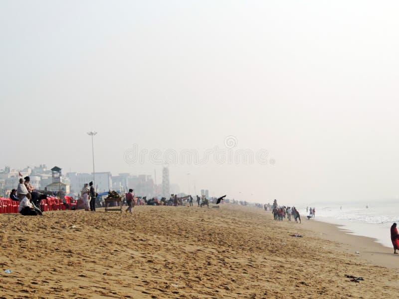 Vakantie bij Puri-Overzees Strand, Odisha royalty-vrije stock afbeelding