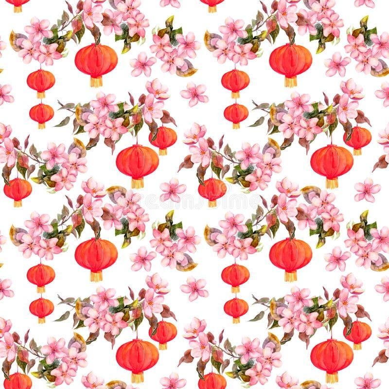 Vakantie Chinese lantaarn in de lentebloesem - sakurabloemen Het herhalen van patroon De achtergrond van de waterverf stock illustratie