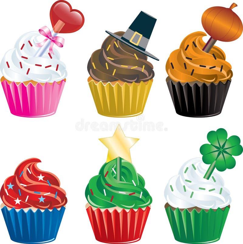 Vakantie Cupcakes stock illustratie