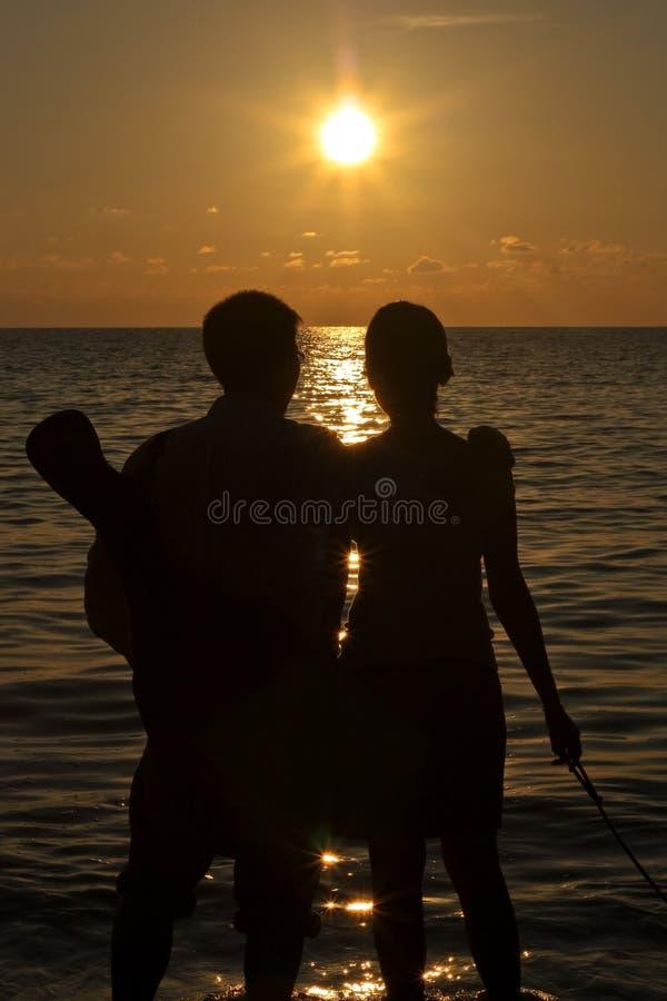 De Vakantie van de zonsondergang stock afbeelding