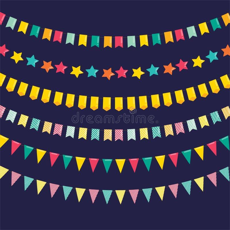 Vakantie en partijdecoratie Reeks kleurrijke vieringsslingers stock afbeelding
