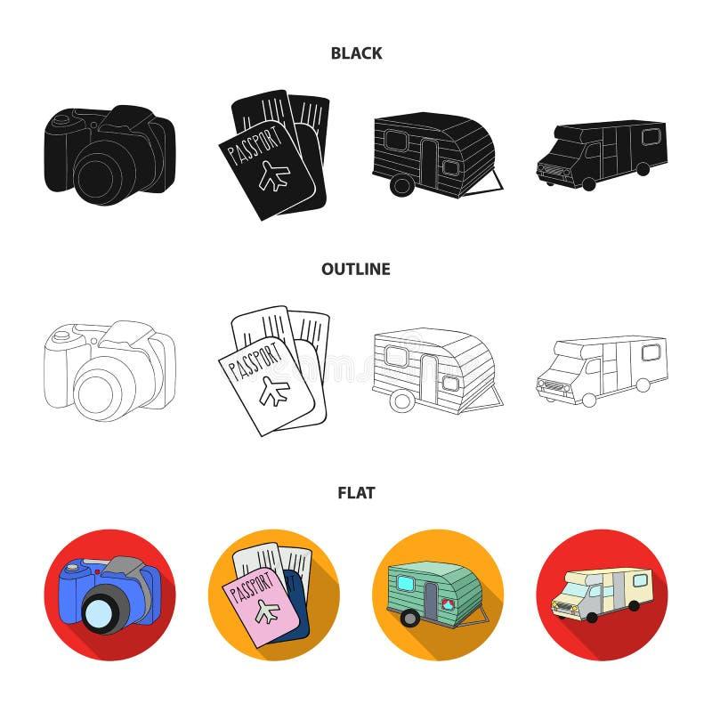 Vakantie, foto, camera, paspoort Vastgestelde de inzamelingspictogrammen van de familievakantie in zwarte, vlak, vector het symbo vector illustratie