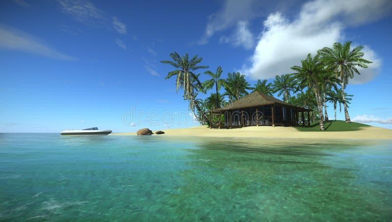 Vakantie in het tropische paradijs in de oceaan, Huis in tropisch eiland royalty-vrije stock foto's