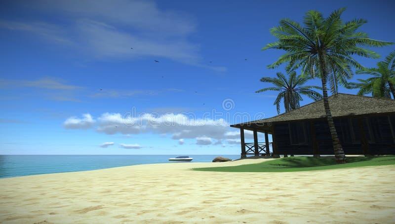 Vakantie in het tropische paradijs in de oceaan, Huis in tropisch eiland stock afbeelding