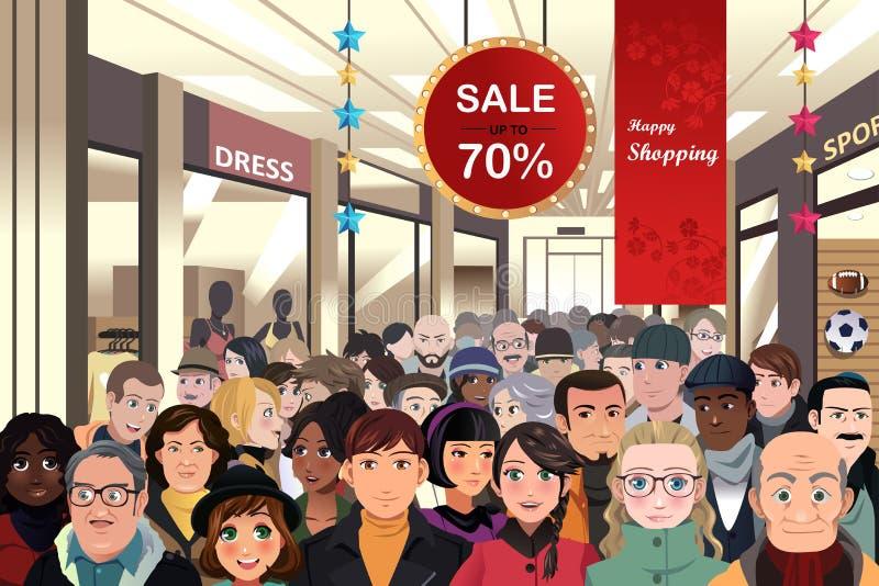 Vakantie het winkelen verkoopscène royalty-vrije illustratie