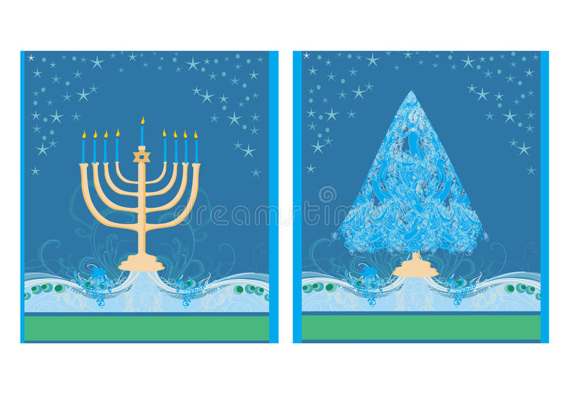Vakantie! kaarten met Kerstboom en Channuka-kaarsen royalty-vrije illustratie