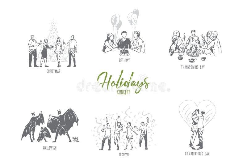 Vakantie, Kerstmis, verjaardag, dankzegging, Halloween, het conceptenschets van de valentijnskaartdag vector illustratie
